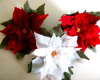 crepe Paper Giant  Poinsettia Red White Flower bakdrop Christmas party Decoration Centerpiece decor Wall arch flower red wedding baby shower
