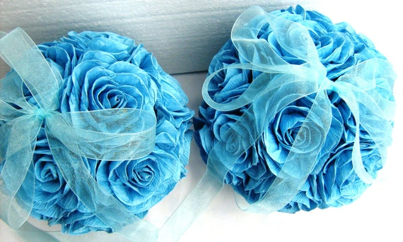 Kissing Ball Crepe Paper Flowers Wedding Royal Navy Aqua Turquoise