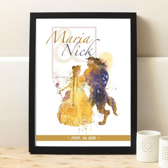 Personalized wedding gifts for couple, Custom Name & Date Beauty and ...