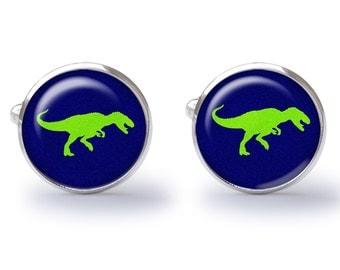 T-Rex Cufflinks - Dinosaur Cuff Links - Dino Cuffs - T Rex Cufflink - Dinosaurs Wedding Gift  (Pair) Lifetime Guarantee