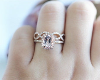 7x9mm in 14K Rose Gold  Morganite Ring Set Bridal Wedding Ring Diamond Half Eternity Ring Matching Wedding Ring  Diamonds Ring Set