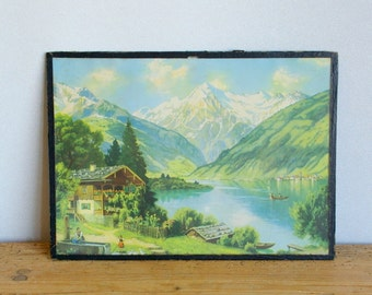 Vintage Alps landscape picture. Vintage mountain European Alps scene print. Framed  picture. Wall decor. Chalet Alps