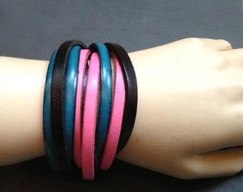 trendy leather strap triple ocean blue, black, pink
