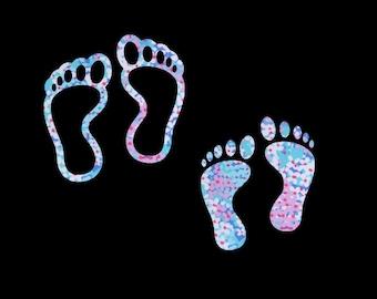 Barefoot Footprint Patterned Vinyl Decal, Bare Feet, Toes, Solid Footprint, Outline Footprint