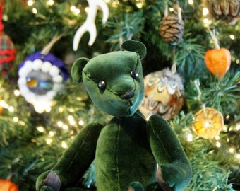 Artist Teddy Bear 'Ralf' velvet green hand crafted OOAK - My Bear Foot Bears