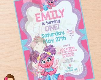 Abby Cadabby invitation, Abby Cadabby, Abby Cadabby invite, Abby Cadabby party, Abby Cadabby  birthday, Sesame Street invitation.