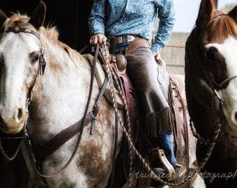 Horse Photography - Cowgirl and Two Horses, Western Riding, Equine Photography, Fine Art Photograph