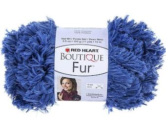 Red Heart Boutique Fur Yarn, Cobalt