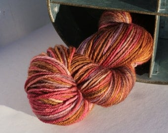 Hand dyed worsted weight superwash merino yarn in fall colors, Indie yarn fall colors,