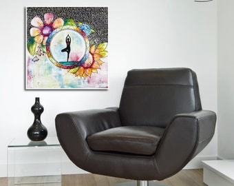 Print yoga tree reproduction with flowers on watercolor paper by Marika Lemay mixed media artist. Zen and modern decor