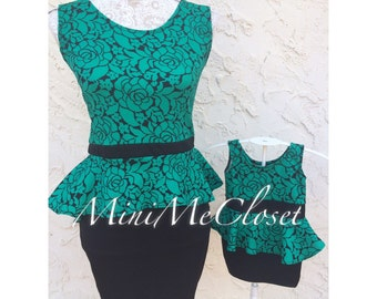 Matching Mother and Daughter Dress (Mom and Me) - Green & Black Floral