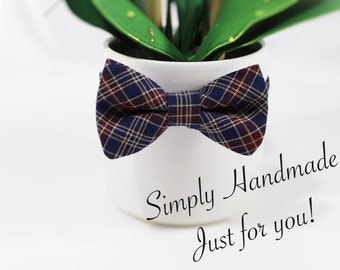 Plaid bow tie for little boys, Navy plaid bow tie, boys bow tie, toddler bow tie, little boys bow tie, baby bow tie, Navy bow tie