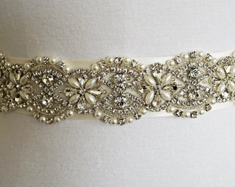 SILVER Wedding Belt Sash, Customizable, Every Color of Ribbon, Bridal Belt, Bridal Sash, Crystal Sash, Satin Sash