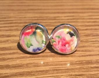 Watercolor Bouquet Stud Earrings