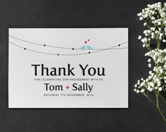 Printable DIY Engagement Thank you Card Custom - Love on a Wire