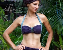 Violet modest high waisted bandeau swimsuit with skirt