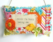 Cute Fabric Door Hanger / Handmade Door Hanger / Shelf Sitter / Girls Bedroom Decoration /Fabric Scrap Pillow / Birthday Gift For her