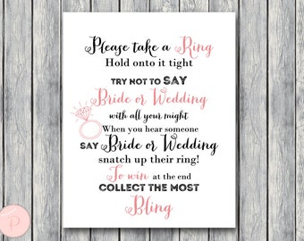 Don't Say Bride or Wedding Game, Don't Say a word Game, Take a Ring Game, Bridal shower game, Bridal shower activity, Printable Game TH16