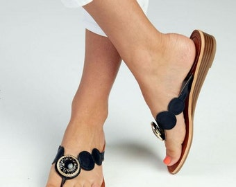 Monogrammed Black Sandal with Exchangable Snap