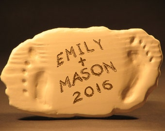 Names and Wedding Year in Sand Footprint Wedding  Plaque//Custom Anniversary Beach Art//Personalized Beach Names & Date Sculpture