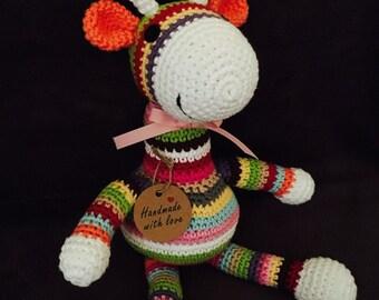 Colorful Amigurumi Giraffe/ Striped Giraffe/ Stuffed Amigurumi Toy