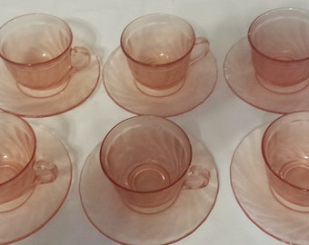 Arcoroc France Frosted Rosaline Pink Swirl  set of 6 tea cups and saucers 1980s