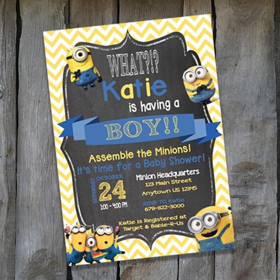 minion baby shower invitation personalized minion invitation s117
