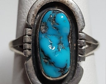 Turquoise Ring Navajo Southwestern Size 6 Old Pawn Sterling