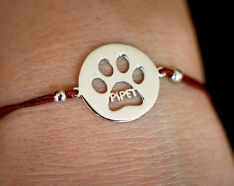 Personalised Adjustable Rope Disk Paw Print Bracelets / Name Paw Print Bracelets / Disk Bracelets /Silver, Gold Plated or Rose Plated Charm.