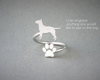 Adjustable Spiral BULL TERRIER and PAW Ring / Bull Terrier Ring / Paw Ring /Dog Ring / Silver, Gold Plated or Rose Plated.