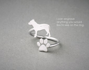 Adjustable Spiral PITBULL and PAW Ring / PitBull Ring / Paw Ring /Dog Ring / Silver, Gold Plated or Rose Plated.