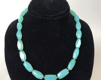 Teal Amazonite or Chrysoprase Faceted Bead Necklace