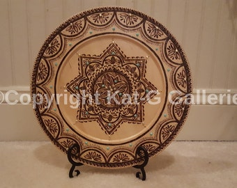 Star of Eight Decorative Wood-burned Plate