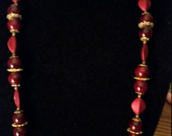 Christmas Red Necklace and Earring Set
