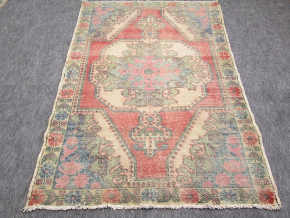 Vintage Oushak Rug Turkish Handwoven Pale Color Rug Carpet   7 x  4.3'  feet