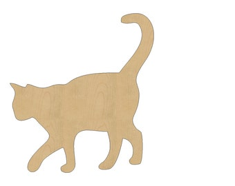 Cat Cutout Shape Laser Cut Unfinished Wood Shapes, Craft Shapes, Gift Tags, Ornaments #811 All Sizes