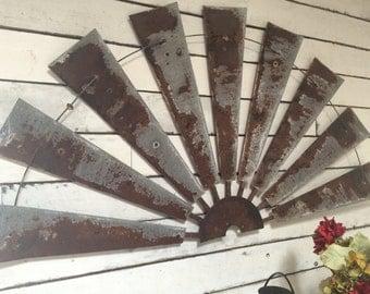 Windmill Half Metal Farmhouse Wall Art 60 Inch  Gift Idea Windmill  Blades Vintage