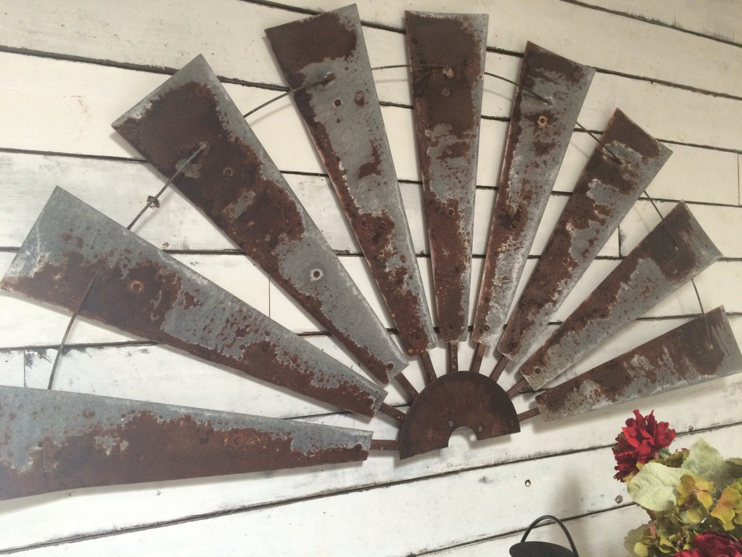 Windmill half metal farmhouse wall art 60 inch gift for Deco metal mural