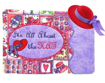 Red Hat Mug Rug, Table Mat, Candle Mat, Snack Mat, Placemat, Red Hat Society, Red Hat Gift, Red Hat Decor, Red Purple