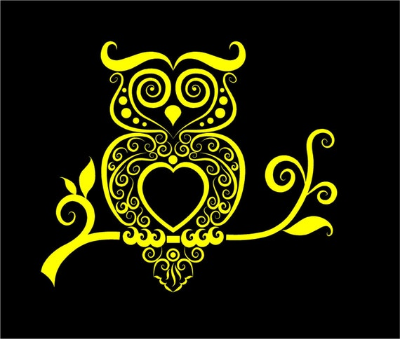 Owl Decal Intricate Owl Vinyl Decal Car Truck Auto Vehicle - Owl custom vinyl decals for car
