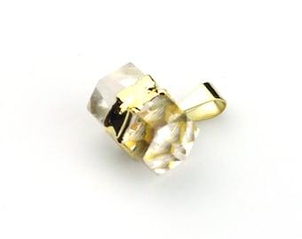 Crystal, Crystal Pendant, Crystal Point, Horizontal Crystal, Crystal Gold, Cyrstal Necklace, Clear Crystal, #150,Natural Crystal,Quartz Gold