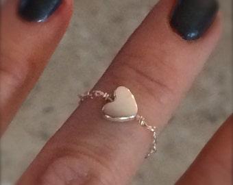 Delicate Ring Chain Ring Heart Ring Midi Ring Knuckle Ring Sterling Silver Chain Ring Heart Charm Midi Gift for Her Love Valentine Bridal