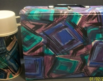 Vintage 1960-70s King Seeley Purple and Black Vinyl Lunch Box With Matching Thermos