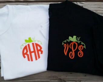 Pumpkin Monogram Shirt, Fall Monogrammed Shirt, Monogrammed Shirt, Pumpkin Monogram, Circle Monogram, Vine Monogram, Master Monogram