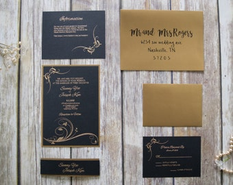 Black and Gold Fancy Elegant Wedding Invitation SAMPLE SET