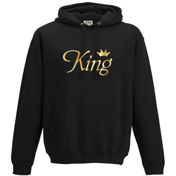 King with Crown Hooded Sweatshirt. Unisex Long Sleeved Quality Hooded Sweater. Royalty, Royal, Regal
