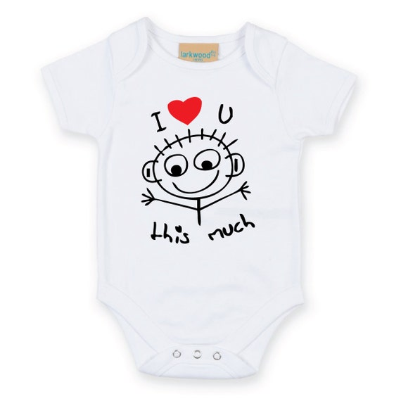 I Luv U this Much Baby Grow cute heart Body Suit Baby Onesie Sleep Suit sleepwear mum to be baby shower gift new born present