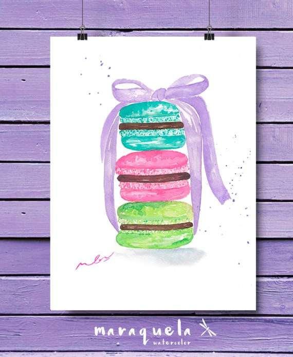 Macarons illustration in watercolor, colorful cookies. Home decor macaroon, french desert. Fashion art wall Room Decor sweet colors