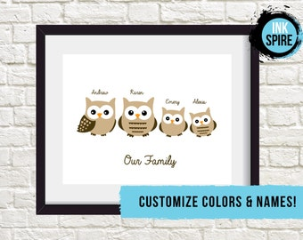 Owl Family Print / DIGITAL FILE / Family of Owls / Personalized Family Print / Gift for Family