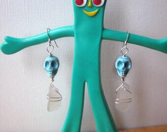 White Sea Glass Blue Skull Earrings/Sterling/Surf Tumbled/Urban Boho/Pirate/Maine/Punk